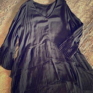 Zara Woman XL Black Pleated Top